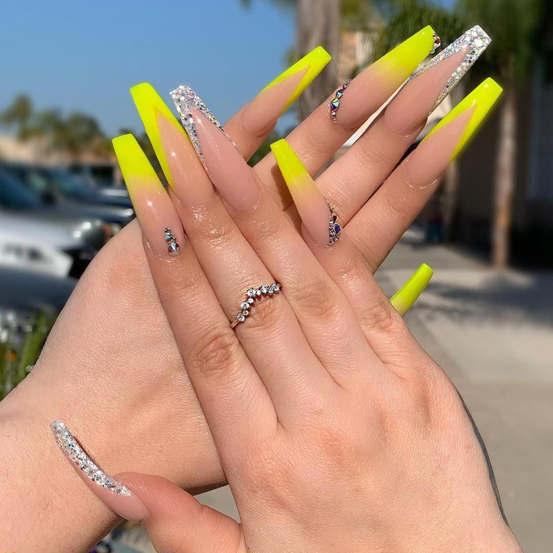 Thai On Instagram Love How The Sun Reflects The Neon Yellow For All The Notpolish Lover Out There Here Green Acrylic Nails Chic Nails Long Acrylic Nails