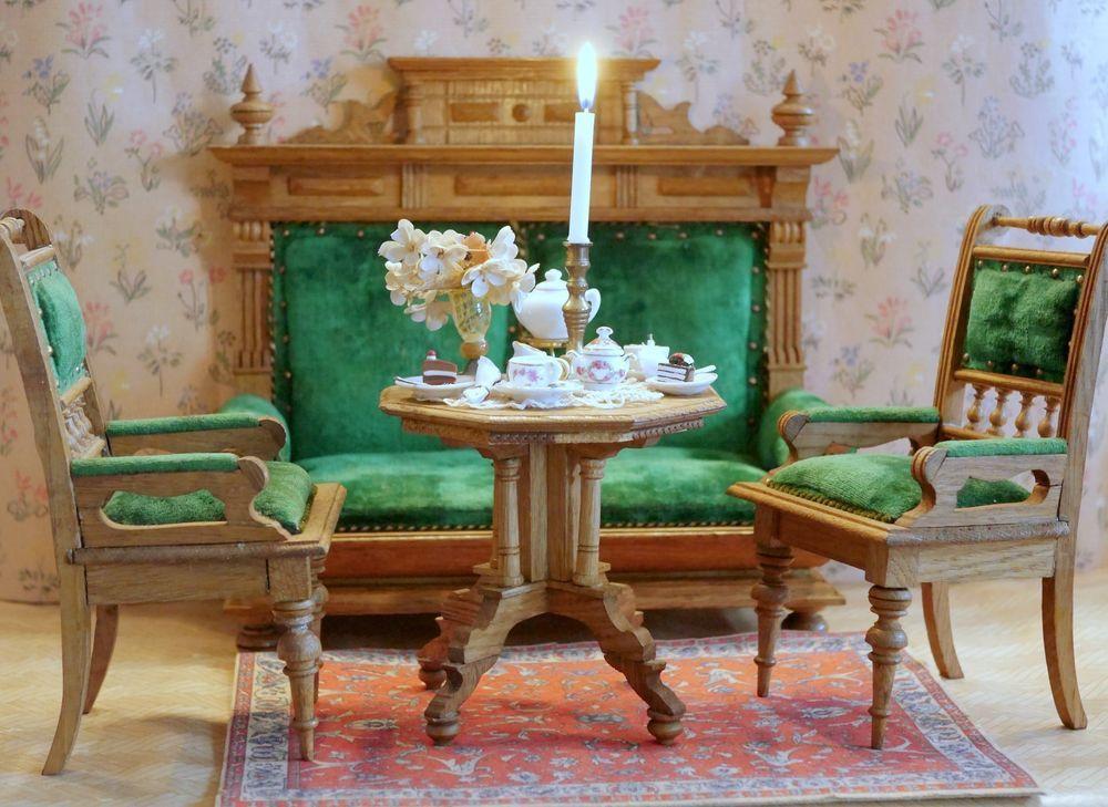 Antike Grosse Puppenmobel Grunderzeit Sofa 2 Sessel Tisch Raritat