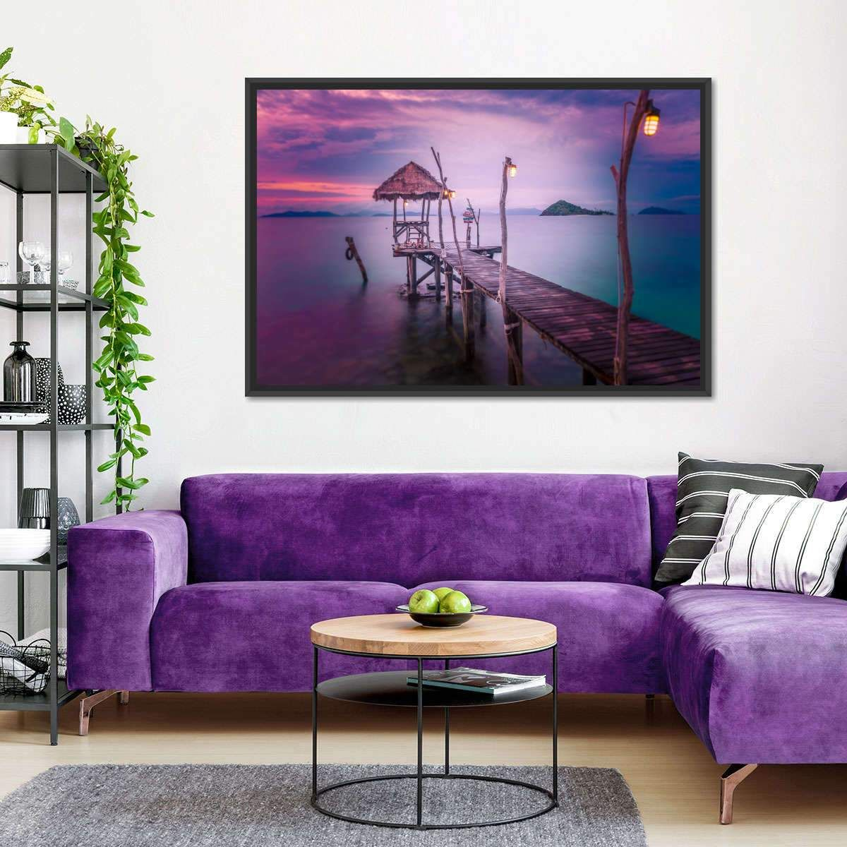 Sunset Pier Shack Multi Panel Canvas Wall Art