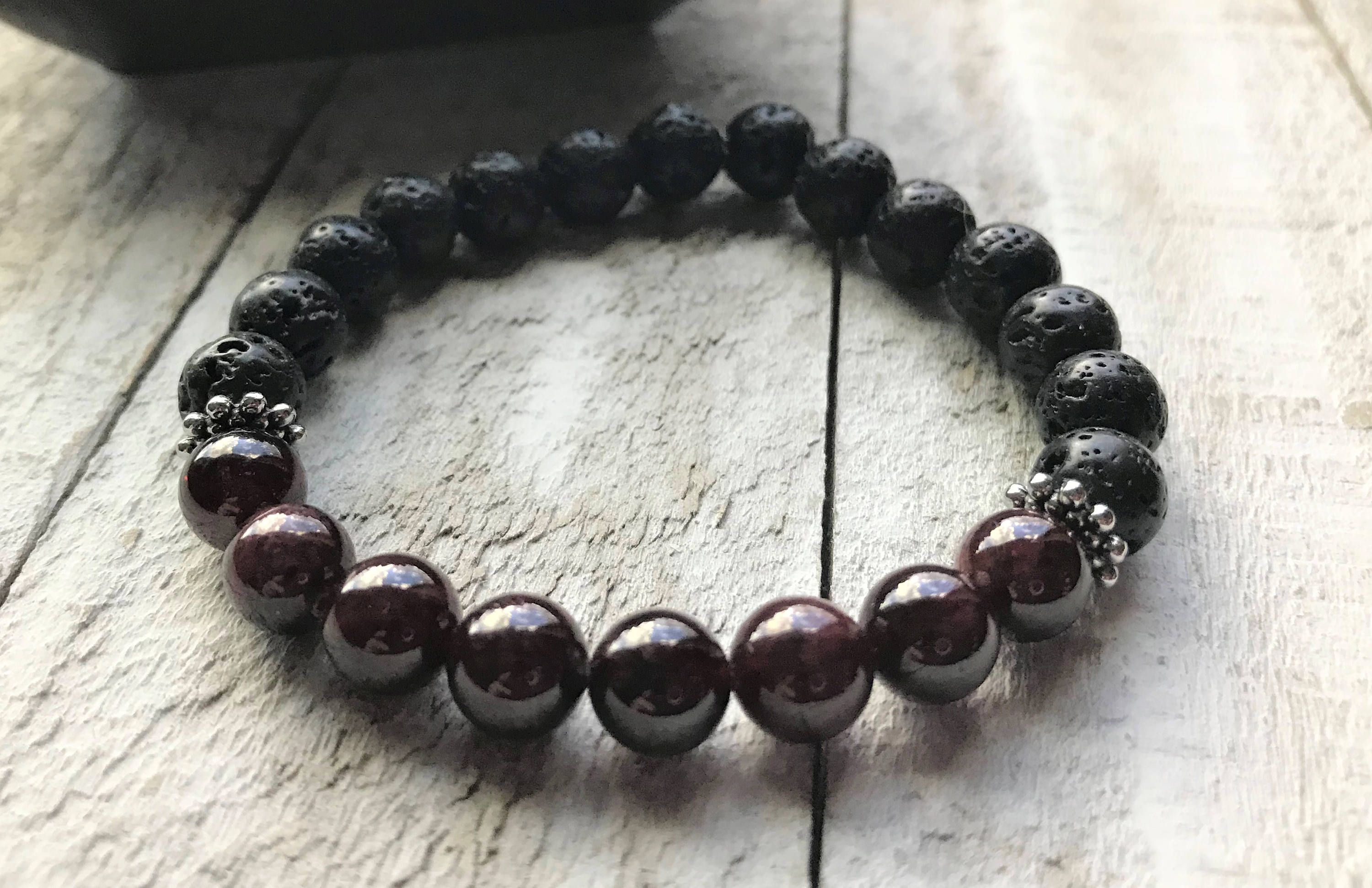 jaya red jewellery bracelet birthstone photo chakra garnet gift healing stacking il sterling listing fullxfull gallery january stretch ring beaded silver