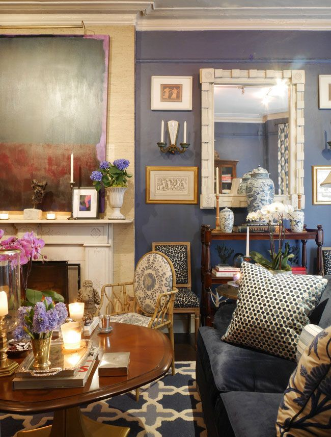 Rod Winterrowd living room is a handsome mix of blue-and white ...