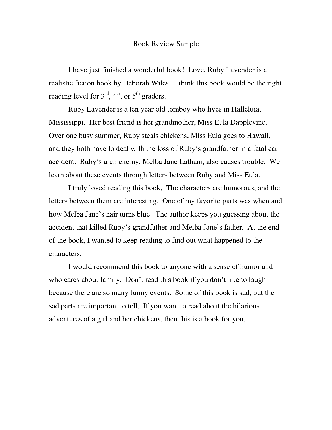 Essay on a book example
