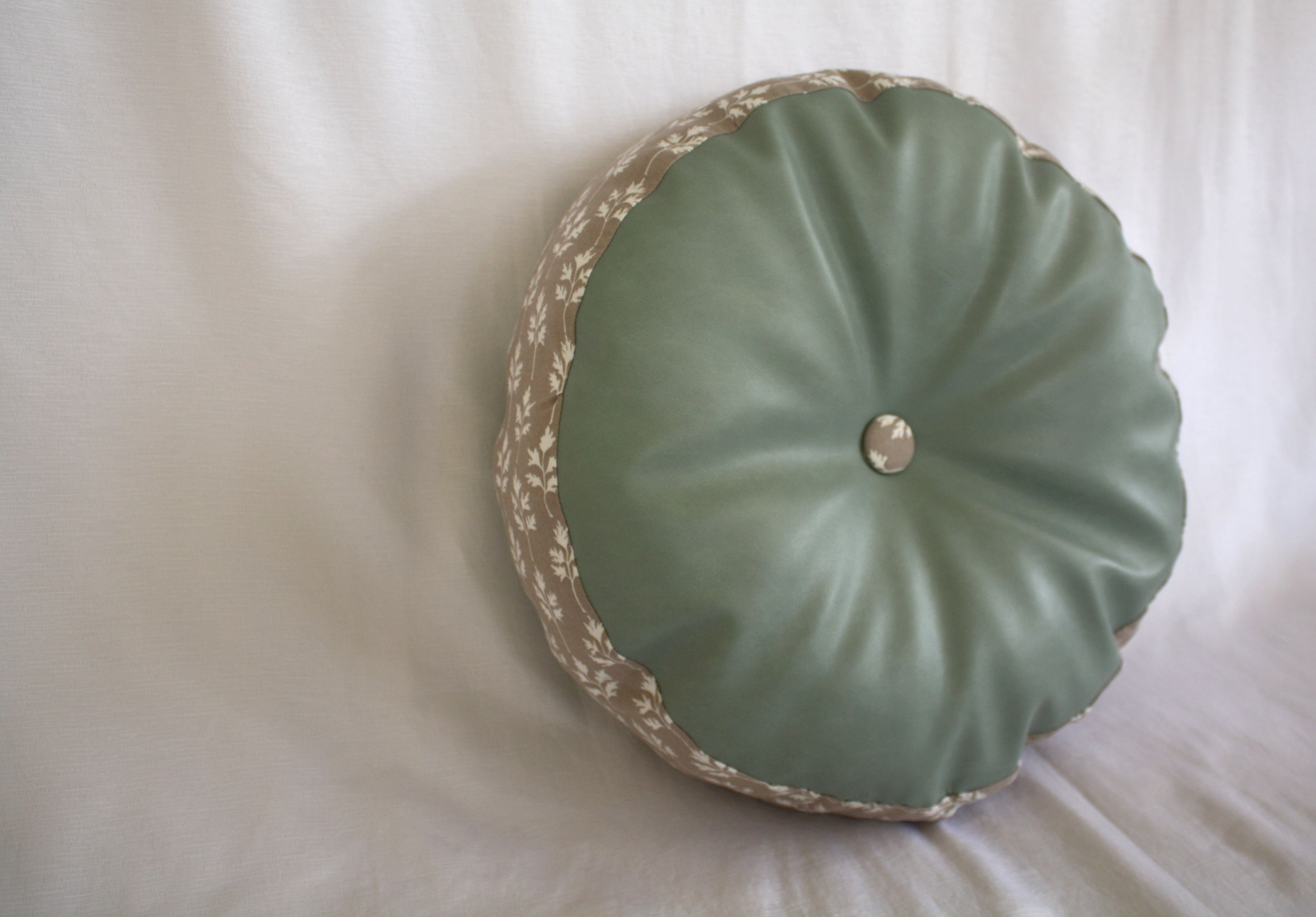 Round Pillow - Light Blue/Brown Leaf Decorative Pillow, Button Accent