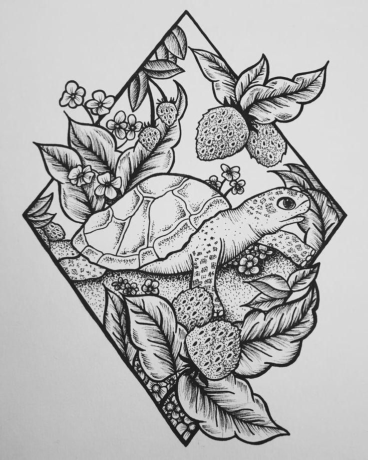 #illustration #Schildkröte #tattoodesig #tattoodesign Schildkröte Illustration Tattoo-Design #illustration #Schildkröte #TattooDesign