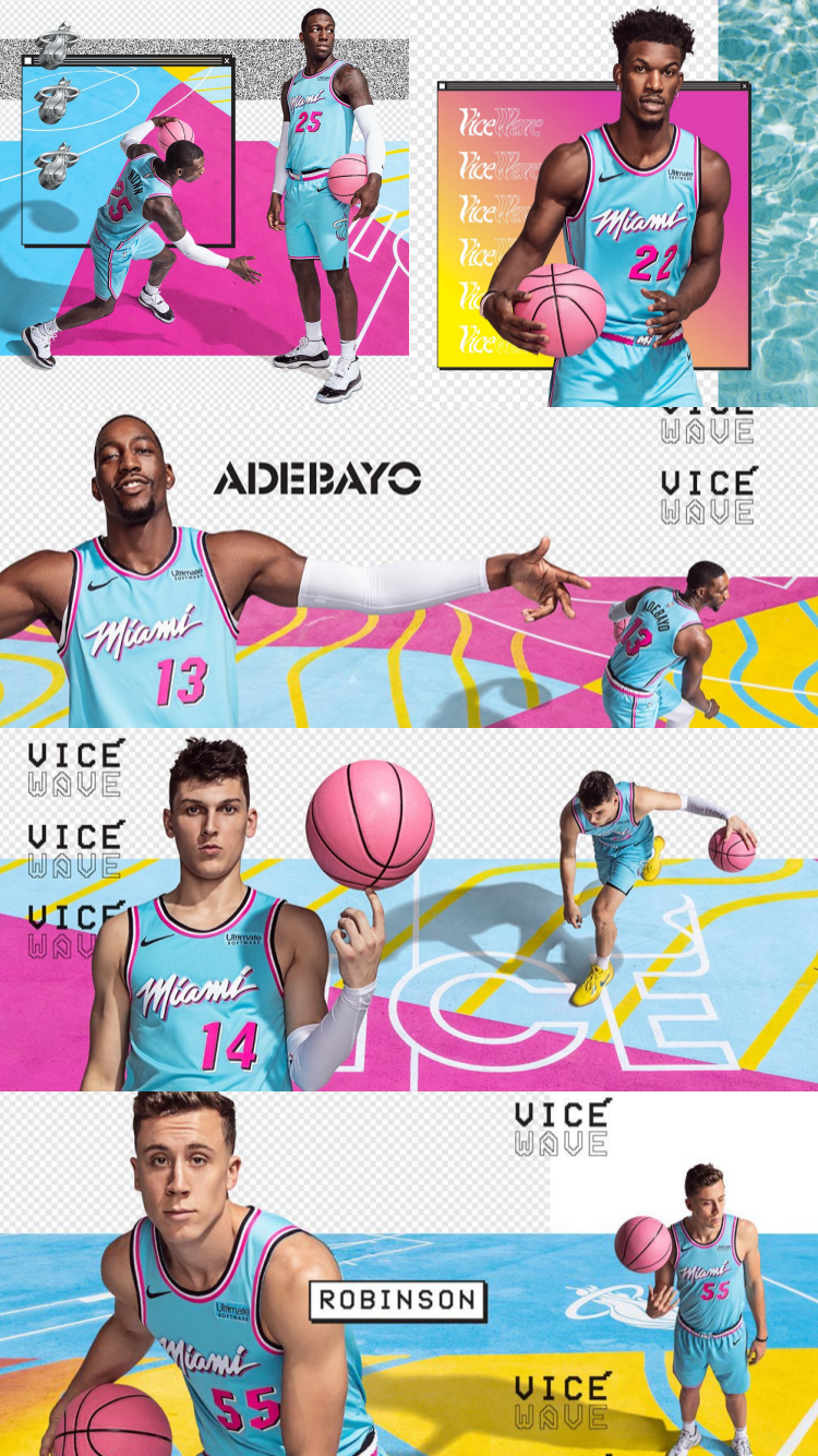 Miami Heat Vice Wave Wallpaper Adebayo Herro Robinson Nunn Butler Phone Background In 2020 Miami Heat Waves Wallpaper Miami