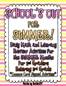 2nd grade summer activity calendar