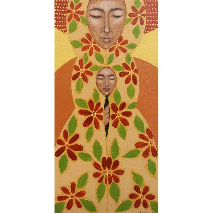 Madonna & Child Original Primitive Folk Art Mother Midwifery Painting Tamara Adams