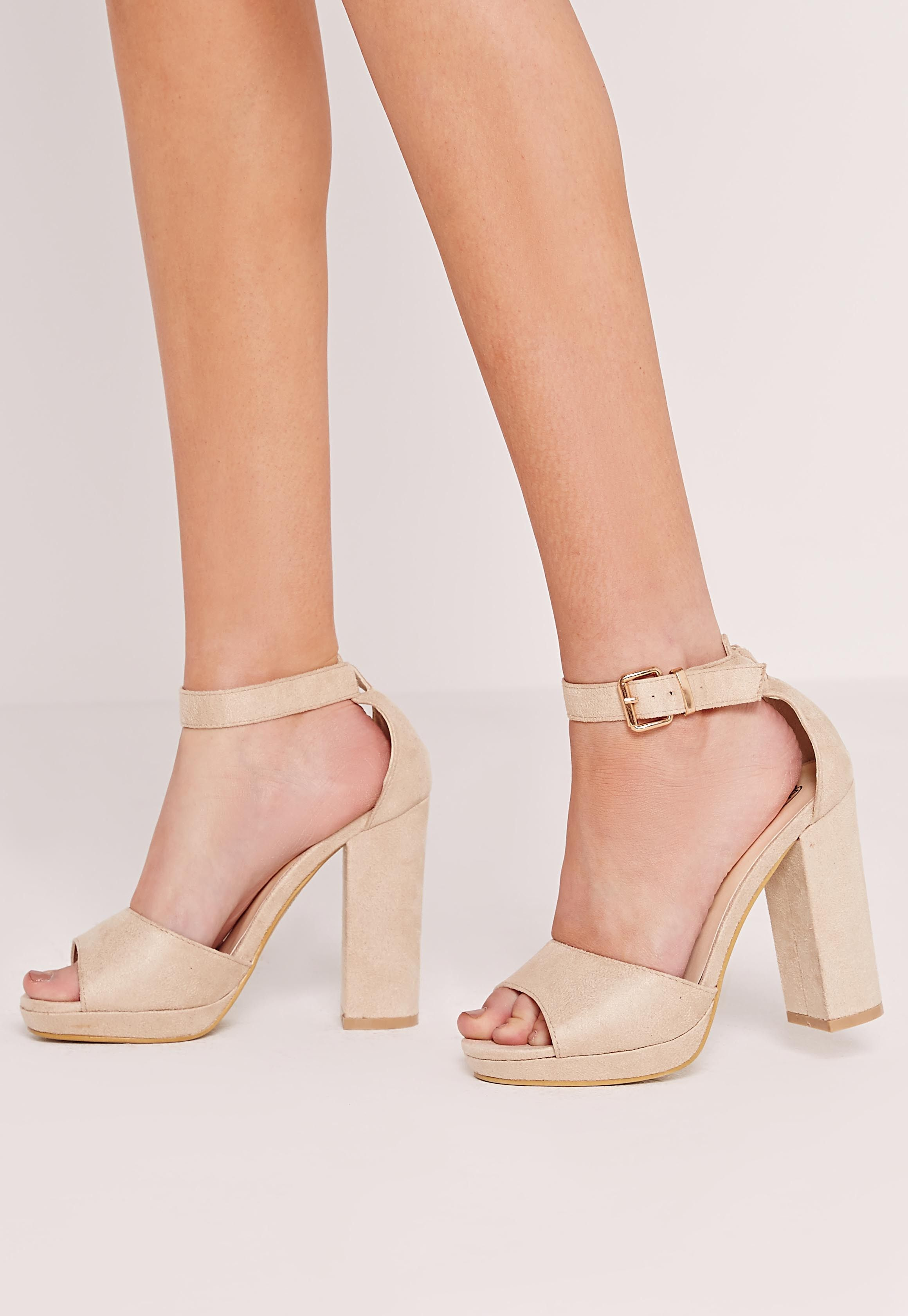 9d18435817e Missguided - Platform Block Heel Barely There Sandals Nude