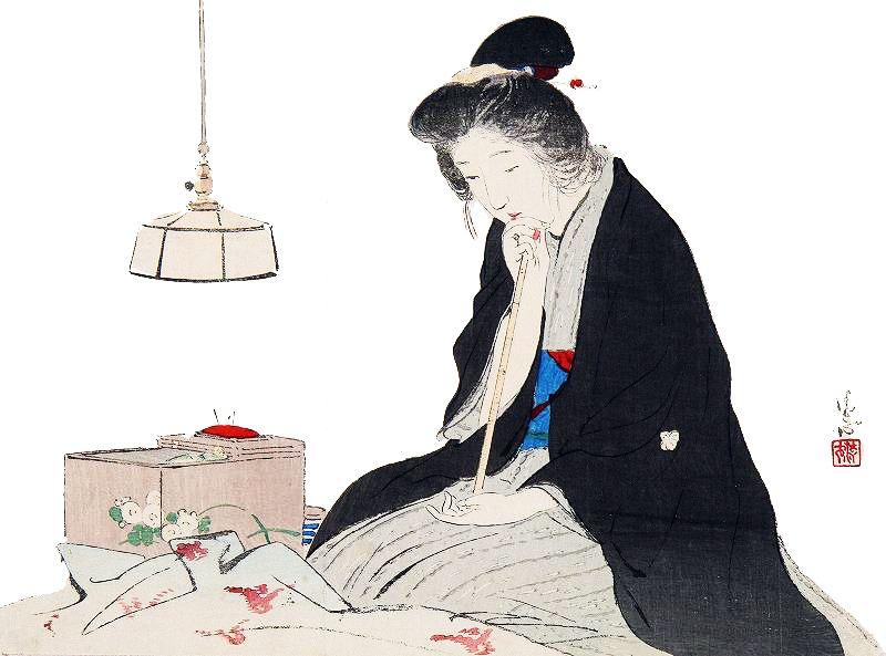 Bijin sewing Kiyokata Kaburagi (鏑木 清方 Kaburagi Kiyokata?, August 31, 1878 – March 2, 1972)