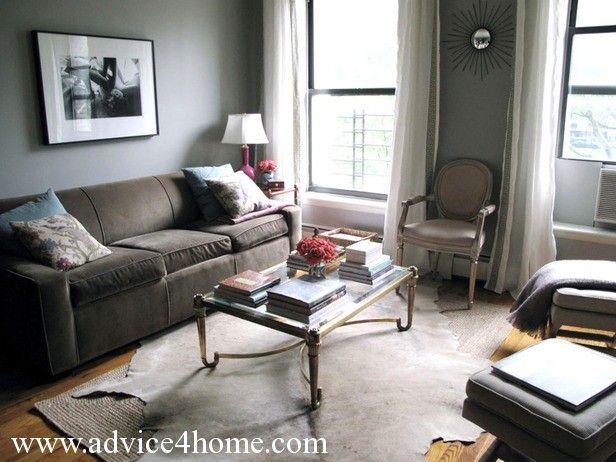 Beautiful Dark Brown Sofa Design And Gray Wall In Living Room