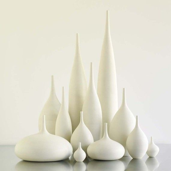 Grand Collection Of 12 Modern White Matte Ceramic Vases By Sara