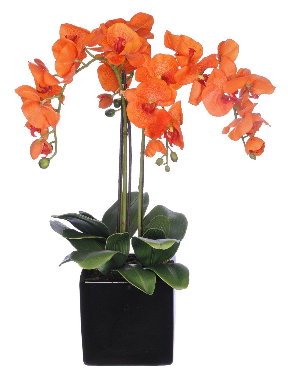 House Of Silk Flowers Artificial Triple Stem Phalaenopsis Orchid Arrangement Paprika Orange To Orchid Arrangements Orchid Flower