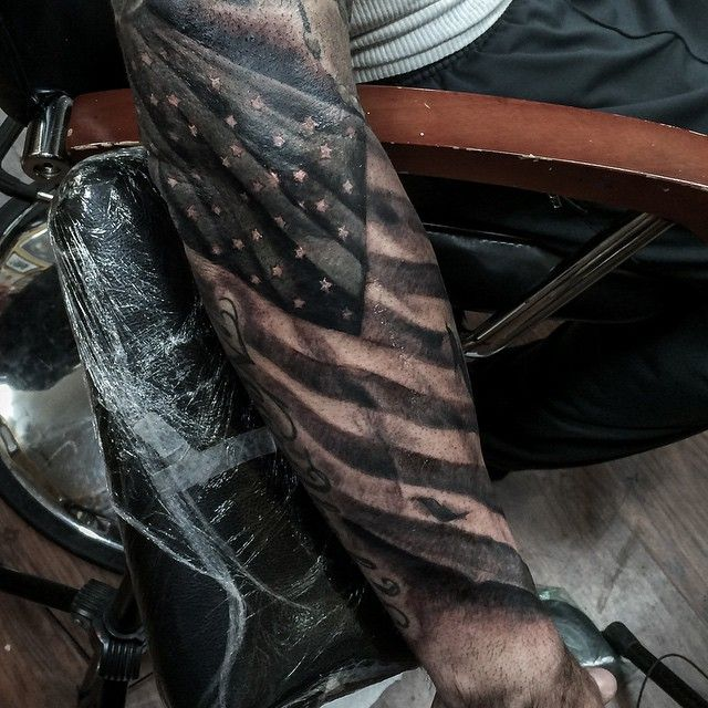 Turan Art Nyc On Instagram To New Beginnings Proud To Be A Part Of The Bangbangnyc Family Much More Flag Tattoo American Flag Tattoo Cool Forearm Tattoos