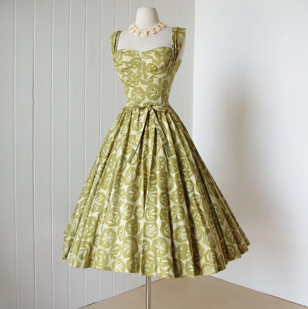 5bf3f42565f0b vintage 1950's dress ...gorgeous KAHALA hawaiian pleated SHELF BUST cotton full  circle skirt pin-up dress. Green Vintage Dresses50s ClothingVintage ...