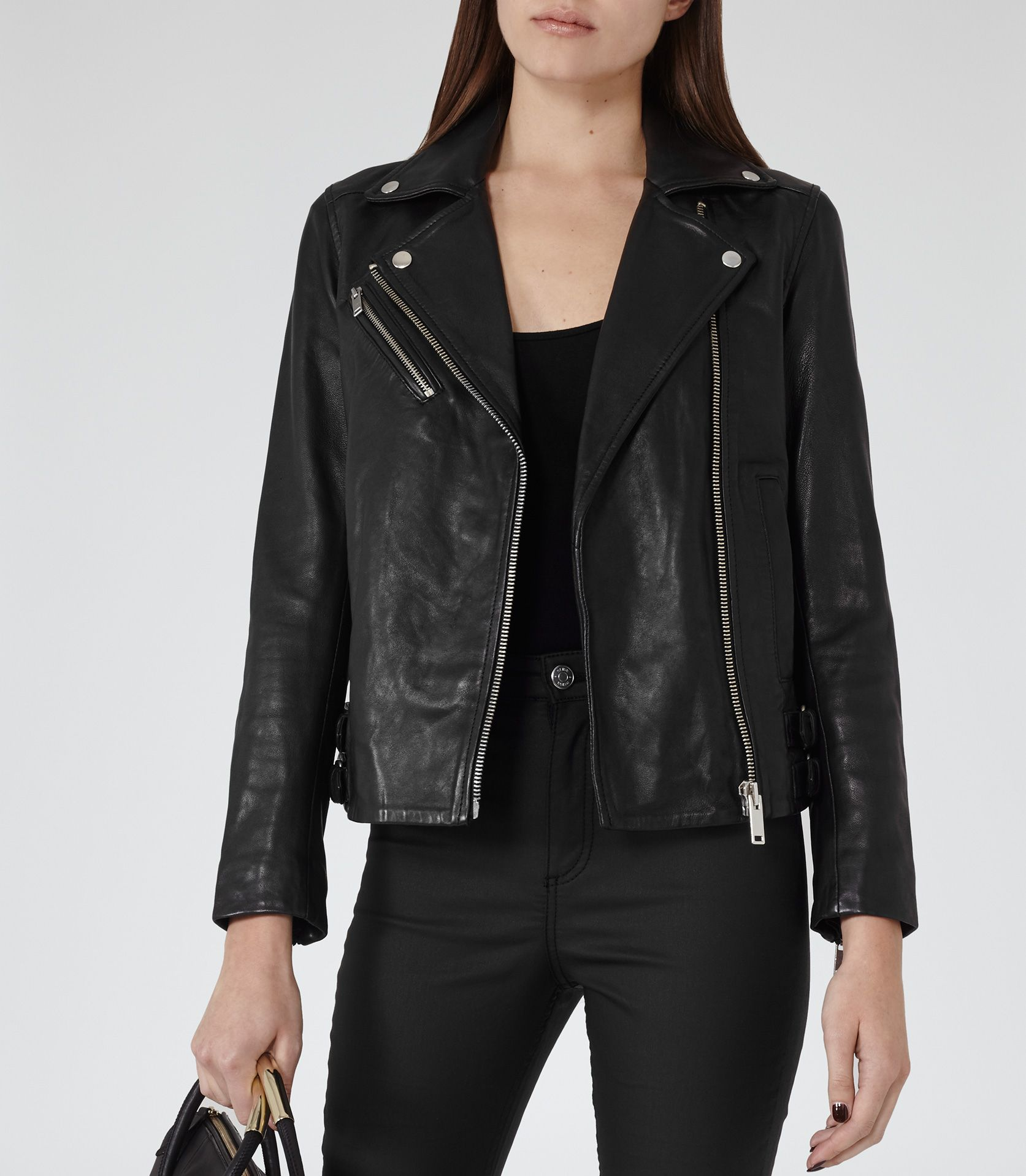 945526b25053 Reiss Lakyn Jacket | The Leather Jacket | Black leather biker jacket ...