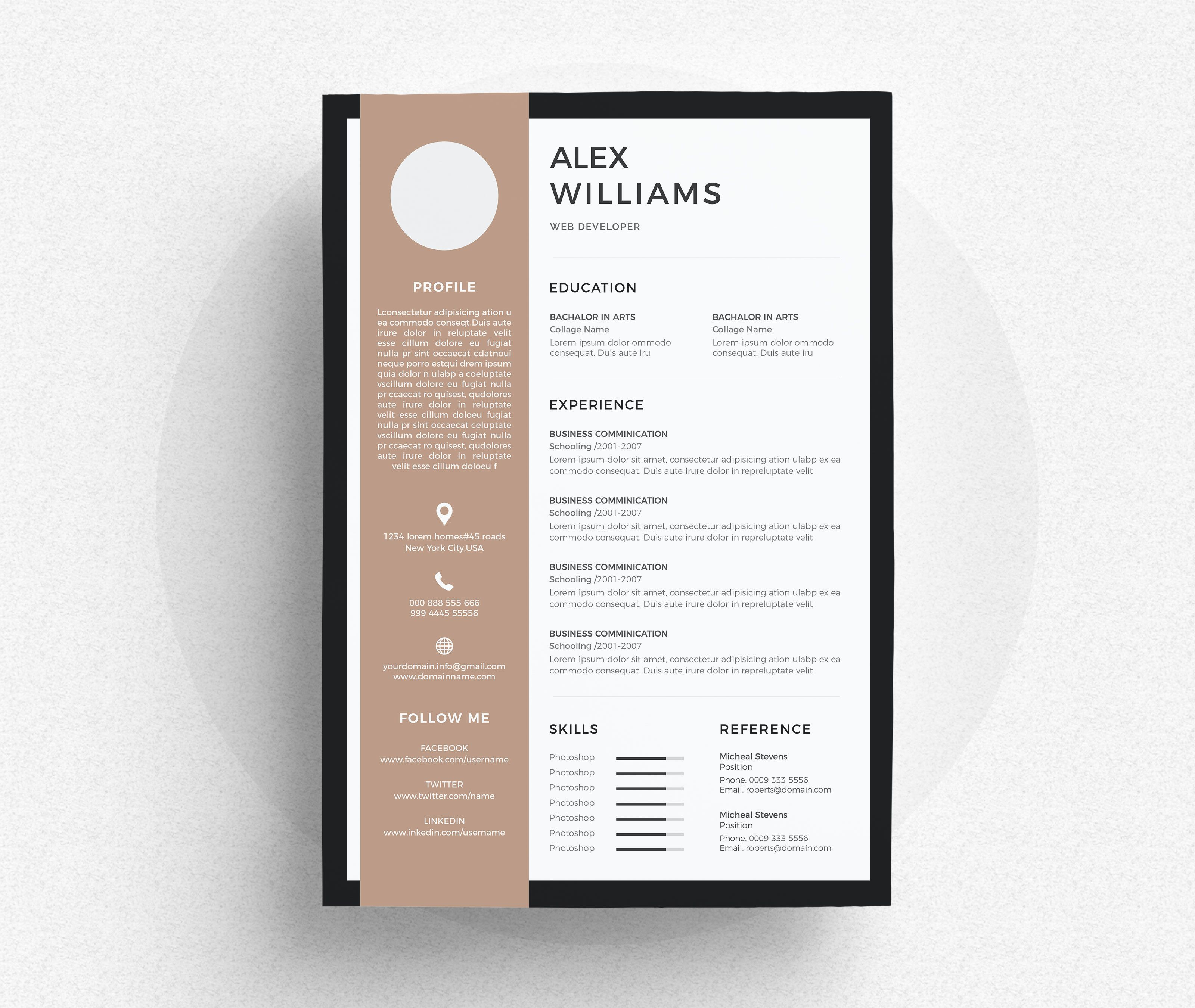 Clean & Modern Resume/cv template to help you land that