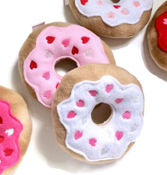 Heart Donut Dog Toy Hearts Donut Squeaky Dog Donut Dog Toy