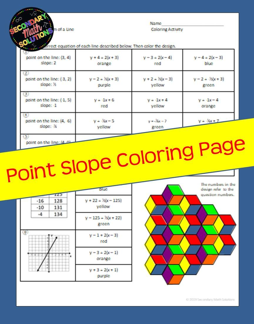 Point Slope Coloring Activity A2b A2c Math Lesson Plans