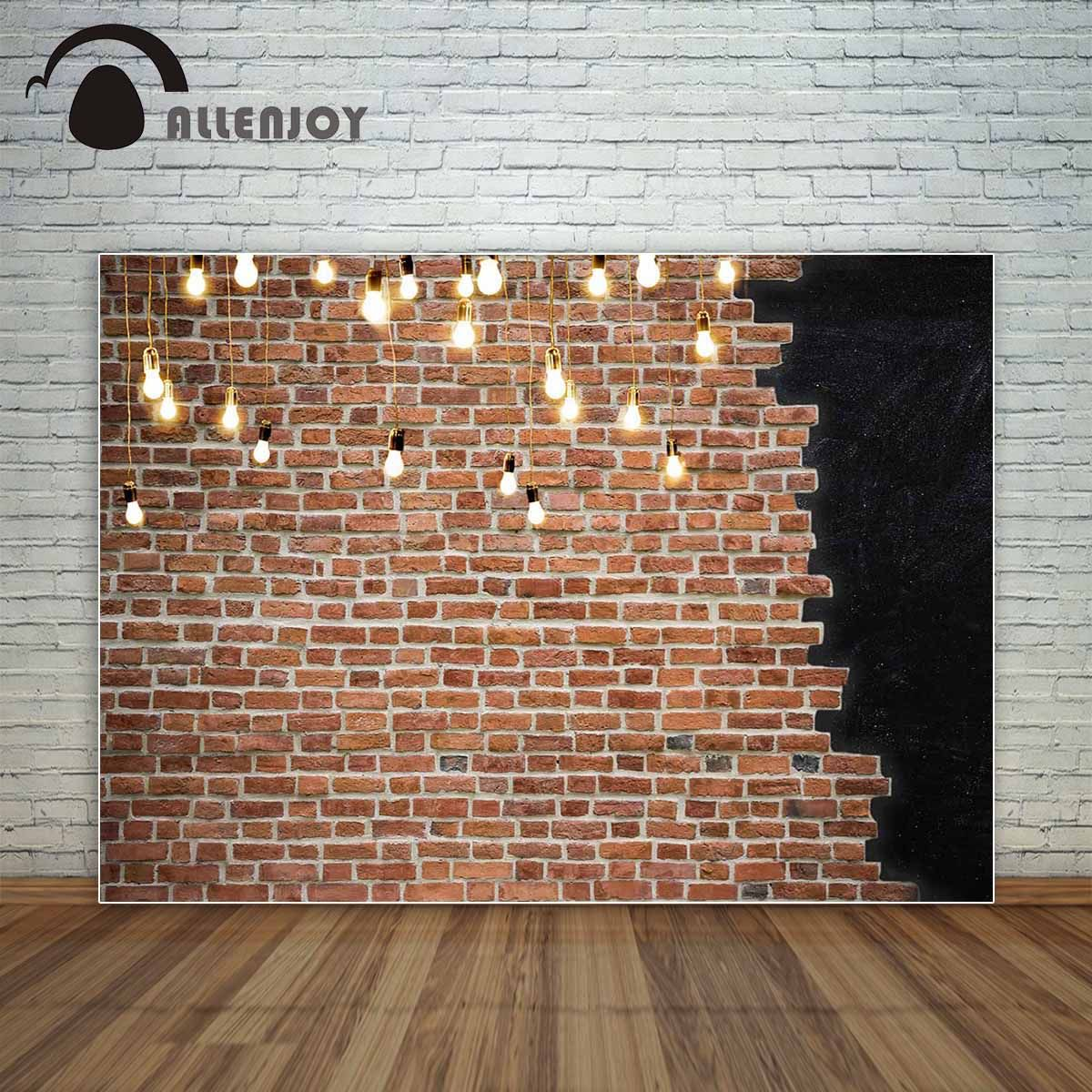 Allenjoy brick wall shiny golden bulbs background vintage fashion backdrop photocall for a photo shoot photo booth