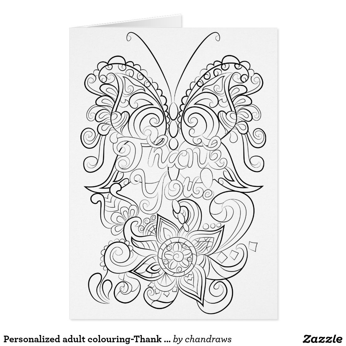 Coloring pages thank you - Personalized Adult Colouring Thank You Card