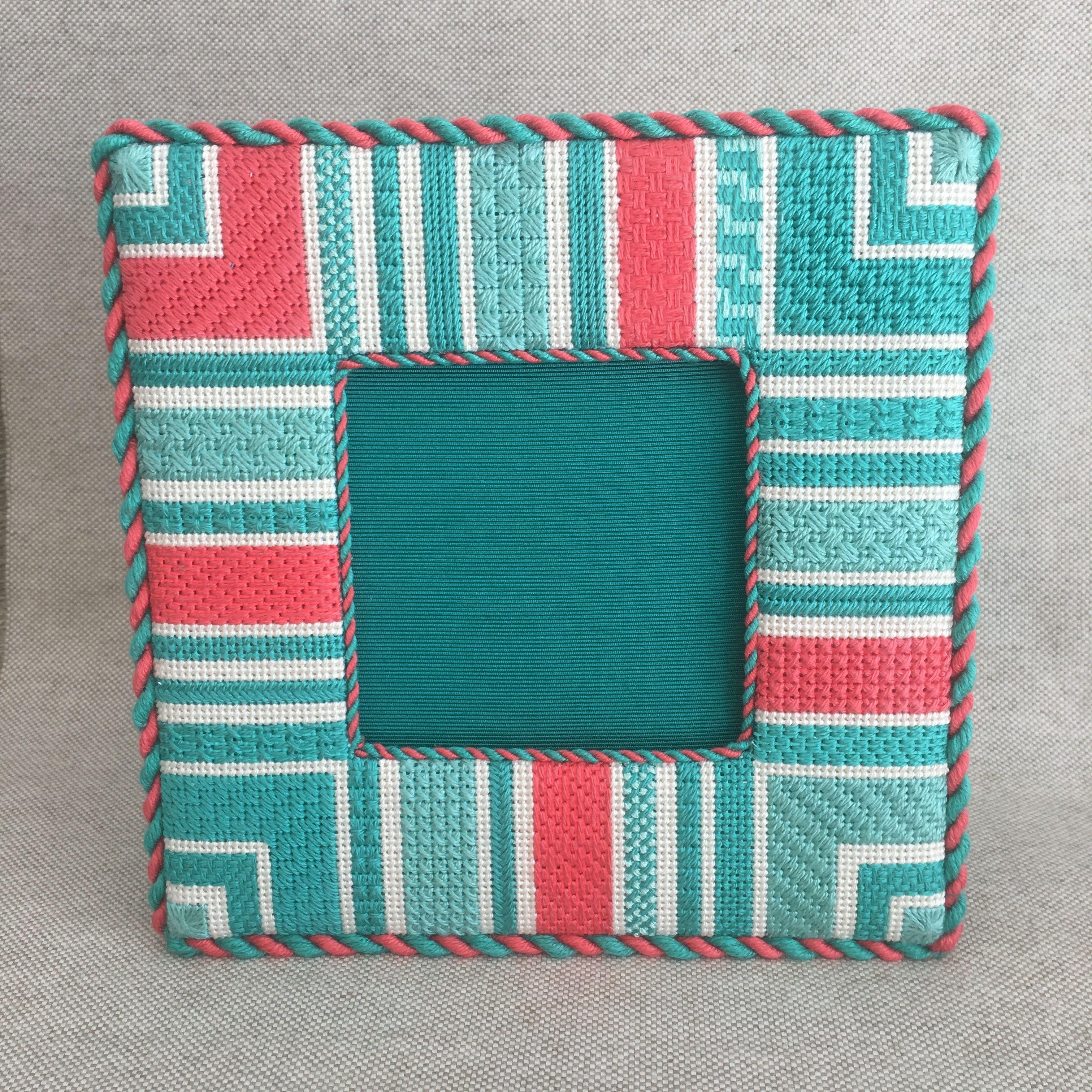 Finishing of aqua and coral needlepoint frame   Needlepoint Shop ...