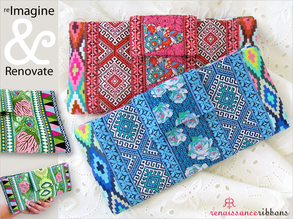 Re-imagine & Renovate: Renaissance Ribbons' Fold-Over Ribbon Wallet free tutorial from Sew4Home