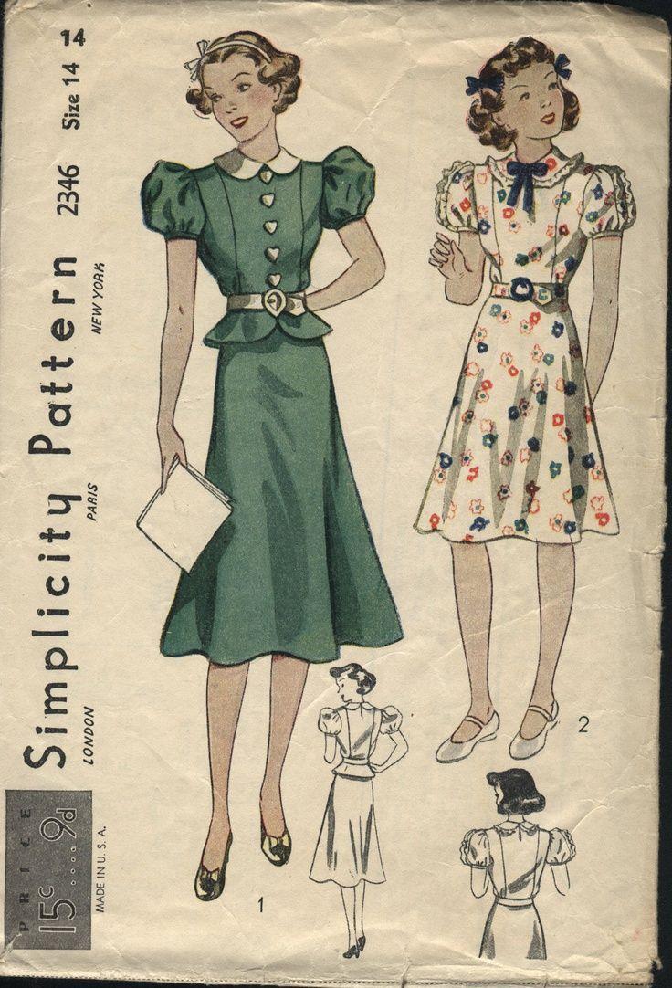 1930 girls dress patterns | VINTAGE 1930s Girls Peplum Short Sleeve ...
