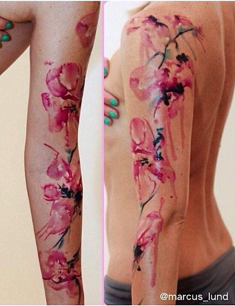 Watercolor Flower Tattoo Sleeve Purple Butterfly Tattoo Orchid