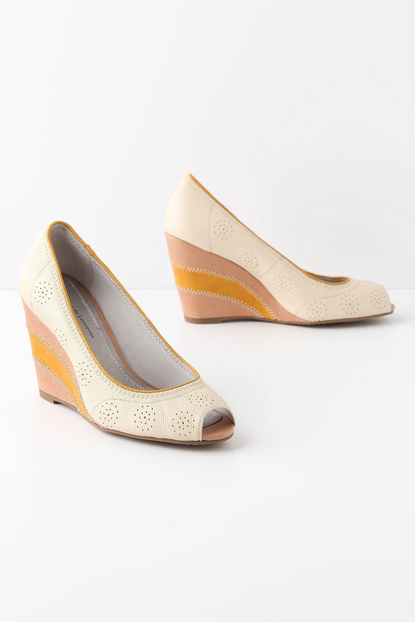 Yellow and cream peep toe wedges