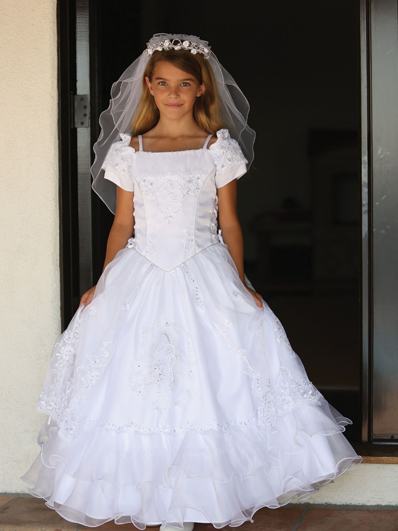 White beautiful sequined organza ruffle communion flower dress