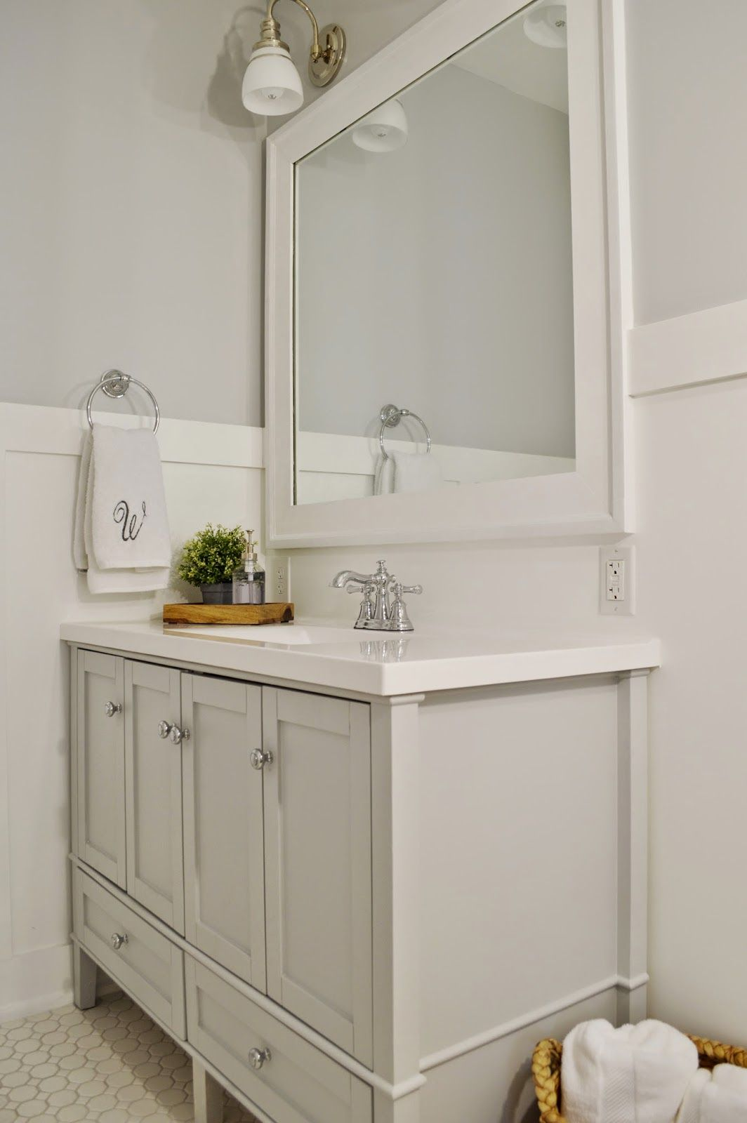 724 south house | classic bathroom | grey vanity | board and