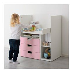 IKEA - STUVA, Desk with 3 drawers, white/pink,