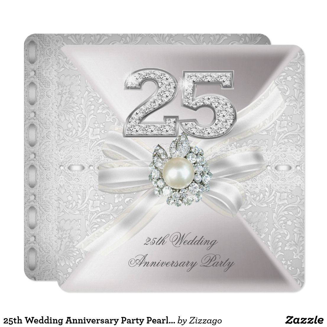 25th Wedding Anniversary Party Pearl Silver Card | 25 wedding ...