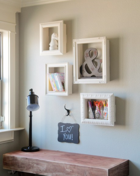 She Took Picture Frames, Wood And Glue And Made The Coolest Shelves ...