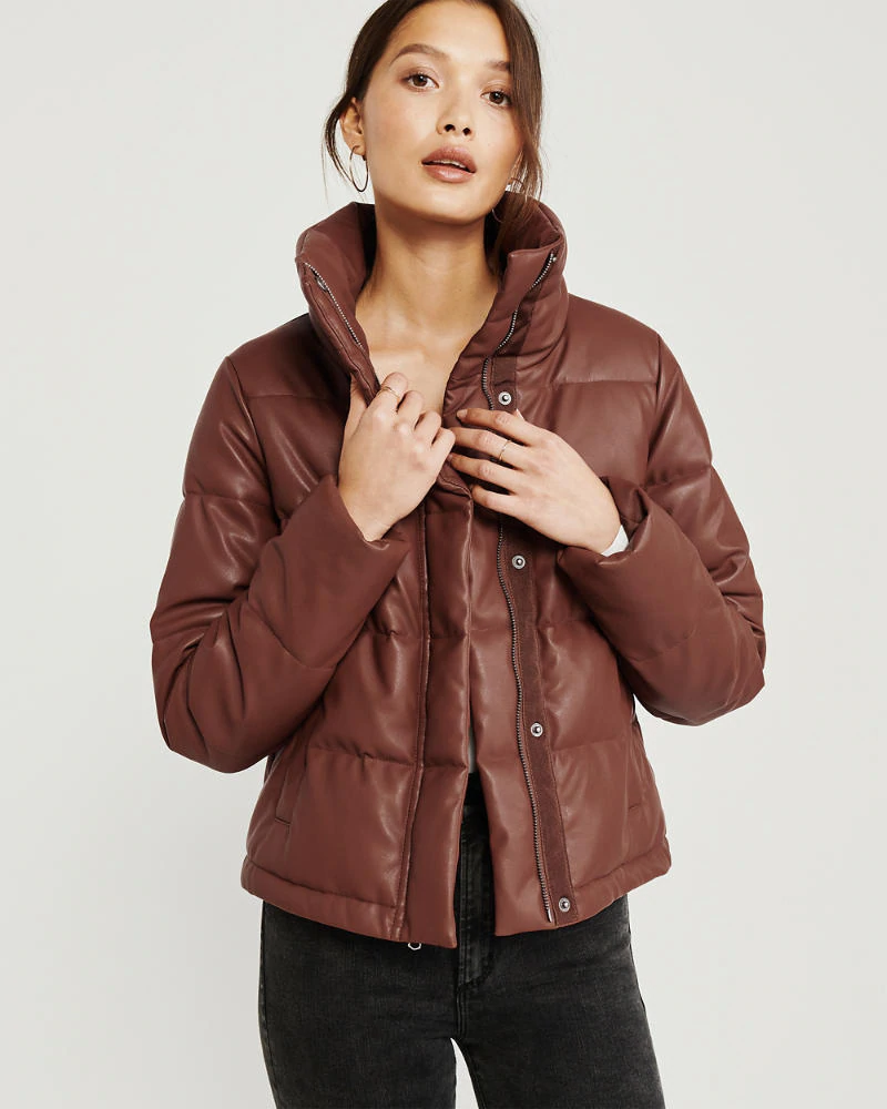 Womens Mini Faux Leather Puffer Jacket Womens Coats Jackets Abercrombie Com Jackets Women S Coats Jackets Jackets For Women [ 1000 x 800 Pixel ]