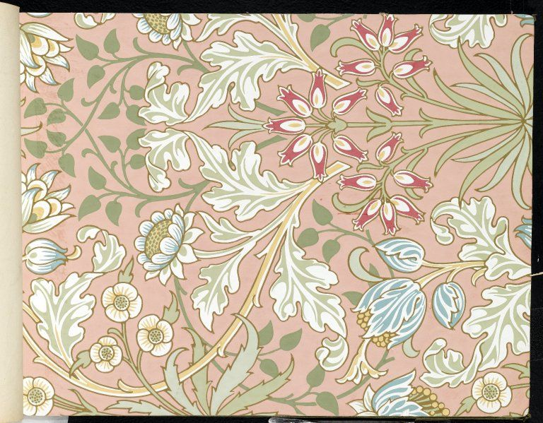 Design for Tulip and Willow indigodischarge woodblock