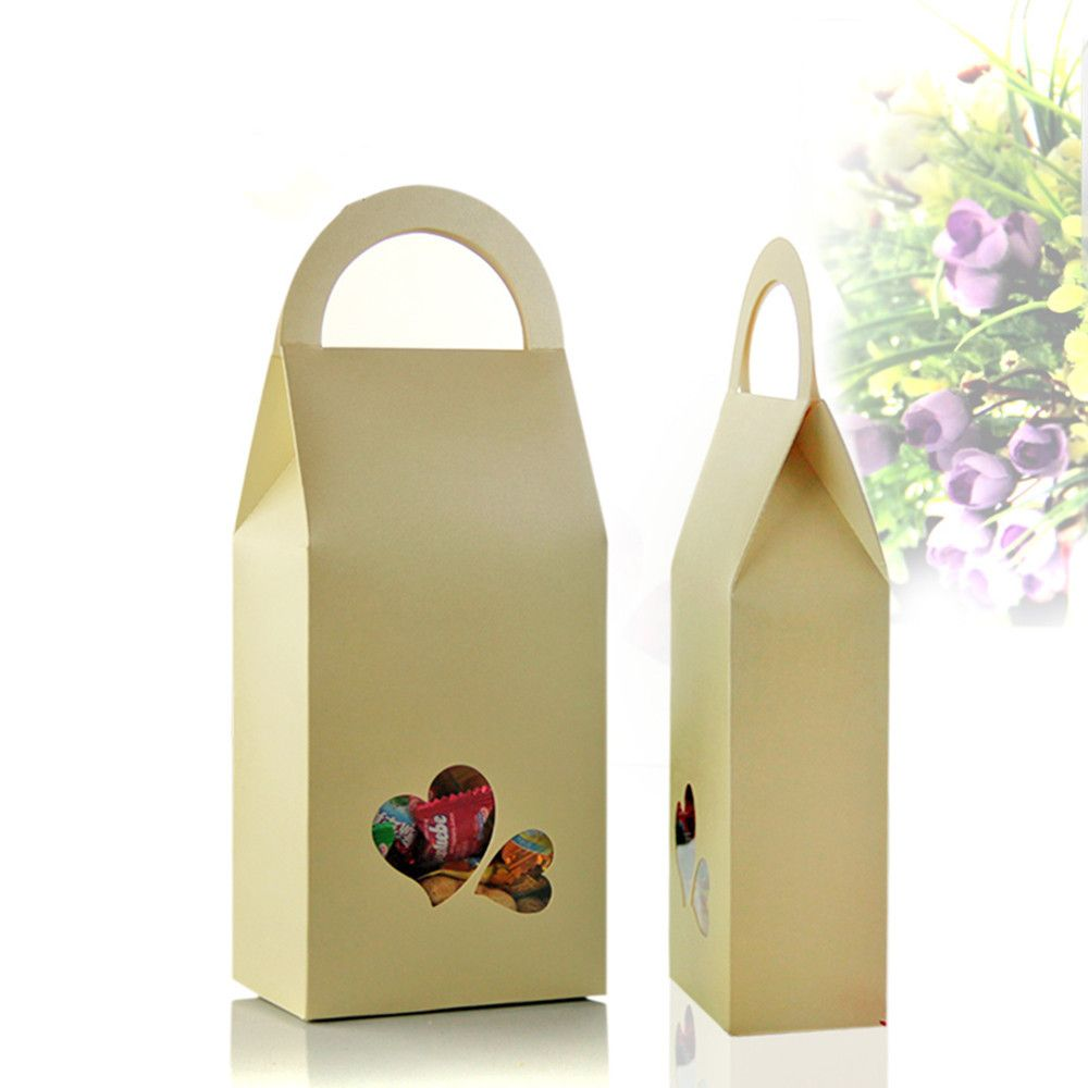 Dhl wholesale 11235cm kraft paper box tote with handle clear dhl wholesale kraft paper box tote with handle clear heart window gift storage bag for wedding candy chocolate package jeuxipadfo Choice Image