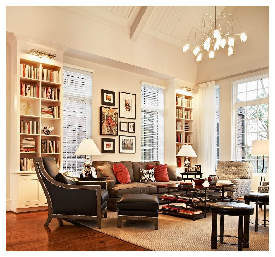 Perfect living room with those bookshelves, windows, the coffee ...