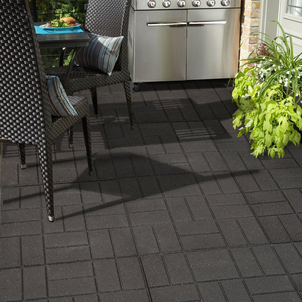 xl brick black rubber paver