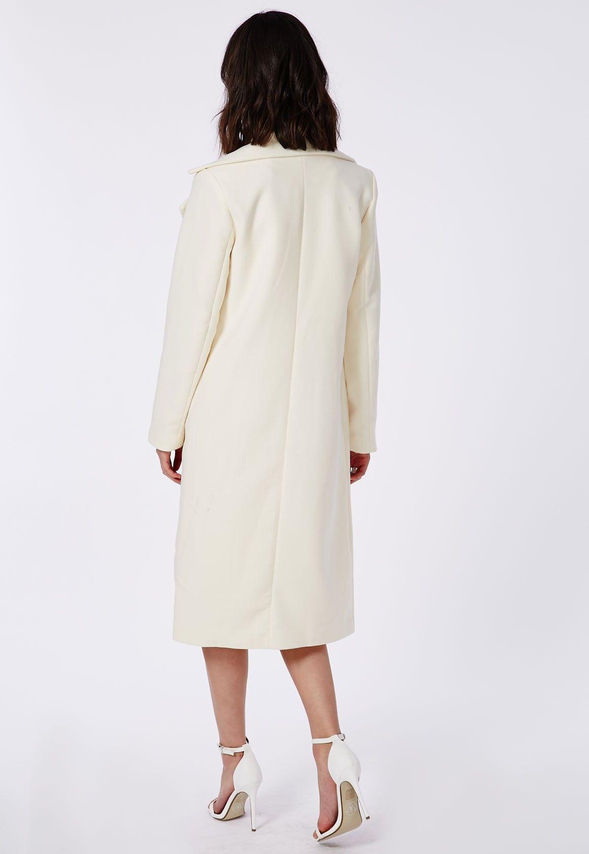 Khloe Premium Waterfall Coat Ivory - Coats & Jackets - Missguided