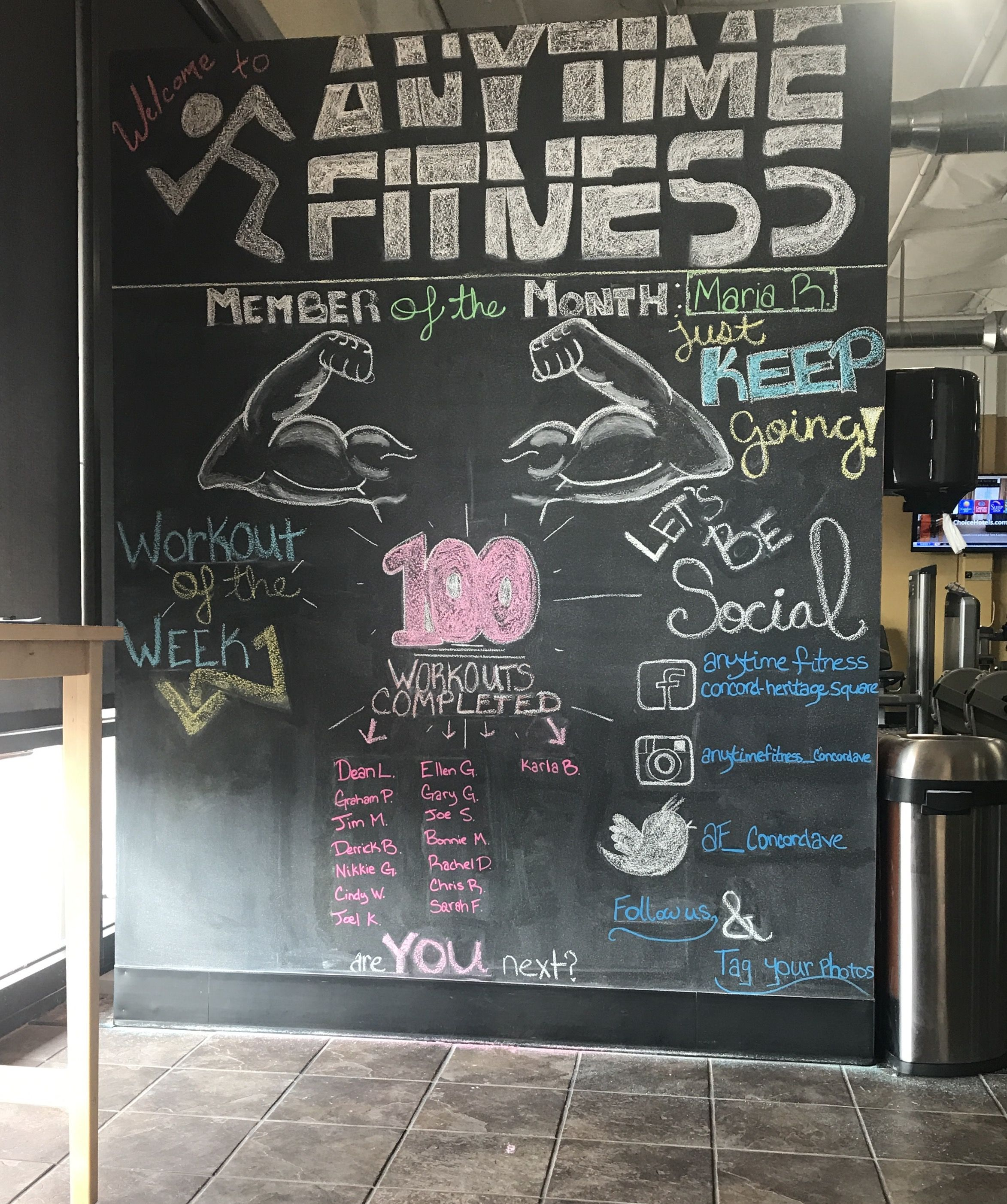 Anytime Fitness Concord Heritage Square Chalkboard Gym Art Gym Chalk Anytime Fitness Gym