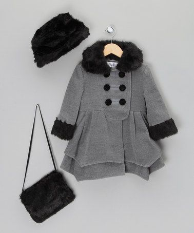 6813bd0a3ca Take a look at this Grey Coat with Faux-Fur Hat   Muff - Infant ...