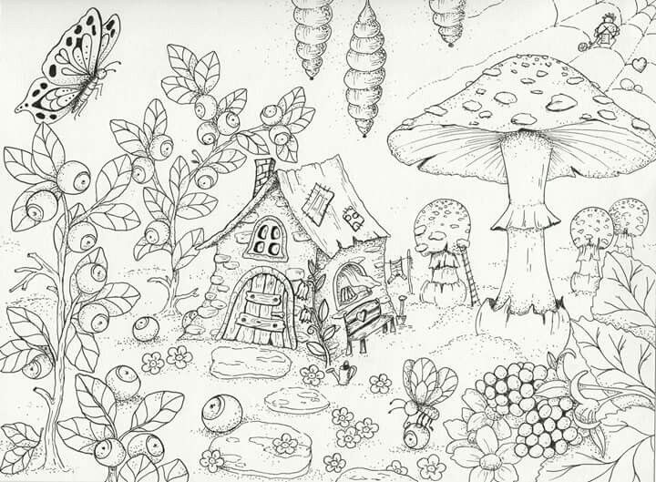 Gnome Home Free Printable Adult Coloring Page Fairy Coloring