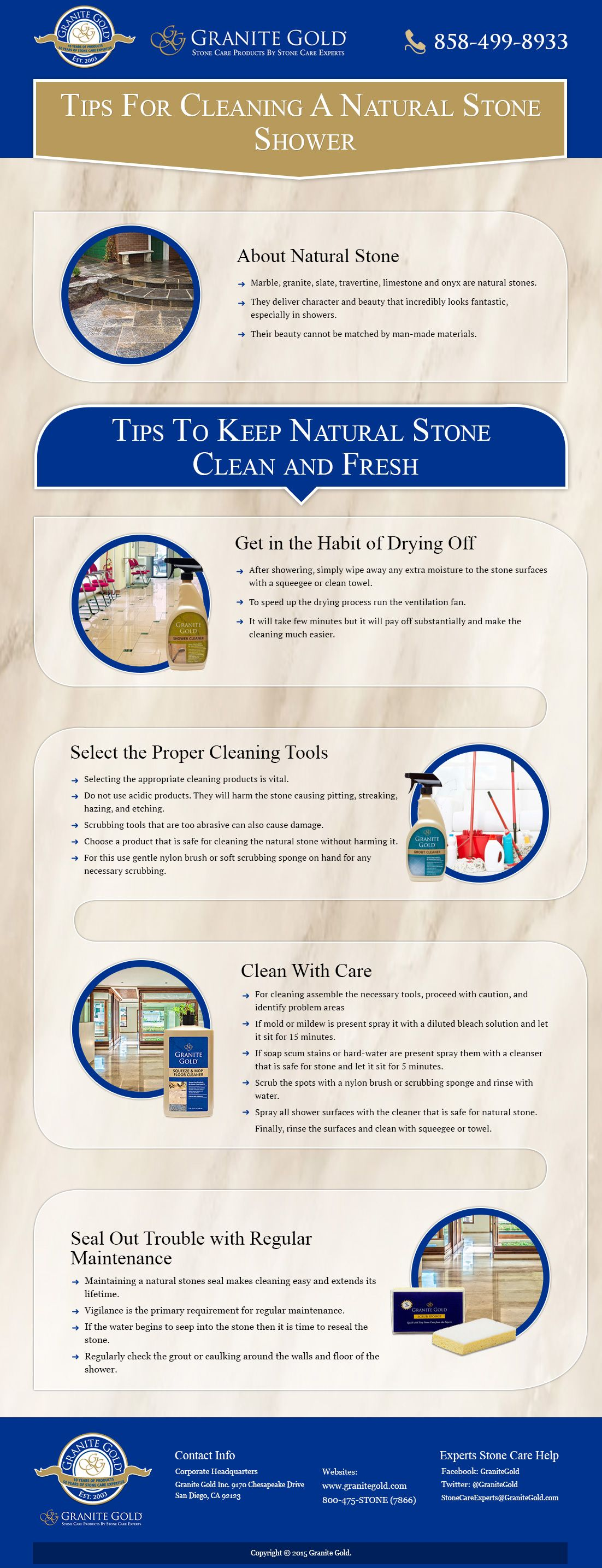 Follow these four tips on how to clean a natural stone shower to