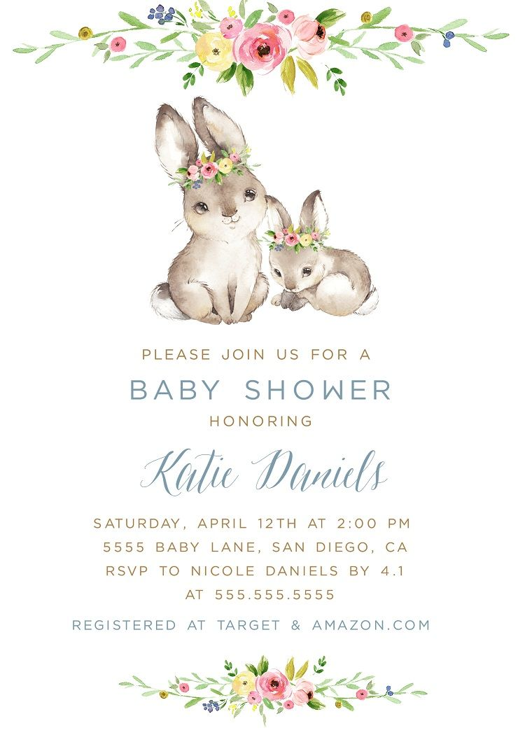 Bunny Baby Shower Invitation Template Spring Invite EDITABLE
