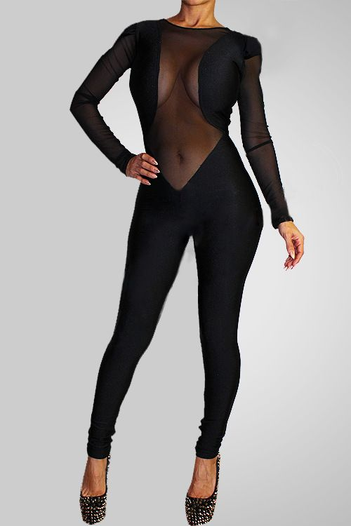 Images of Tight Black Jumpsuit - Reikian