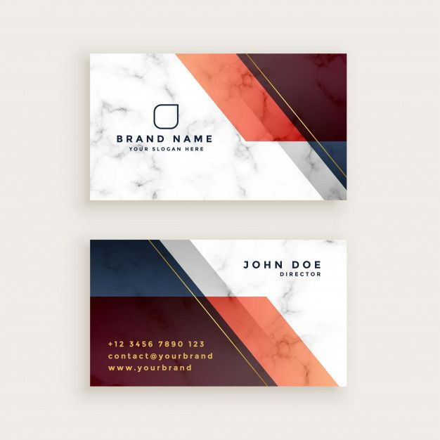 Stylish marble business card design with geometric shapes Free Vector
