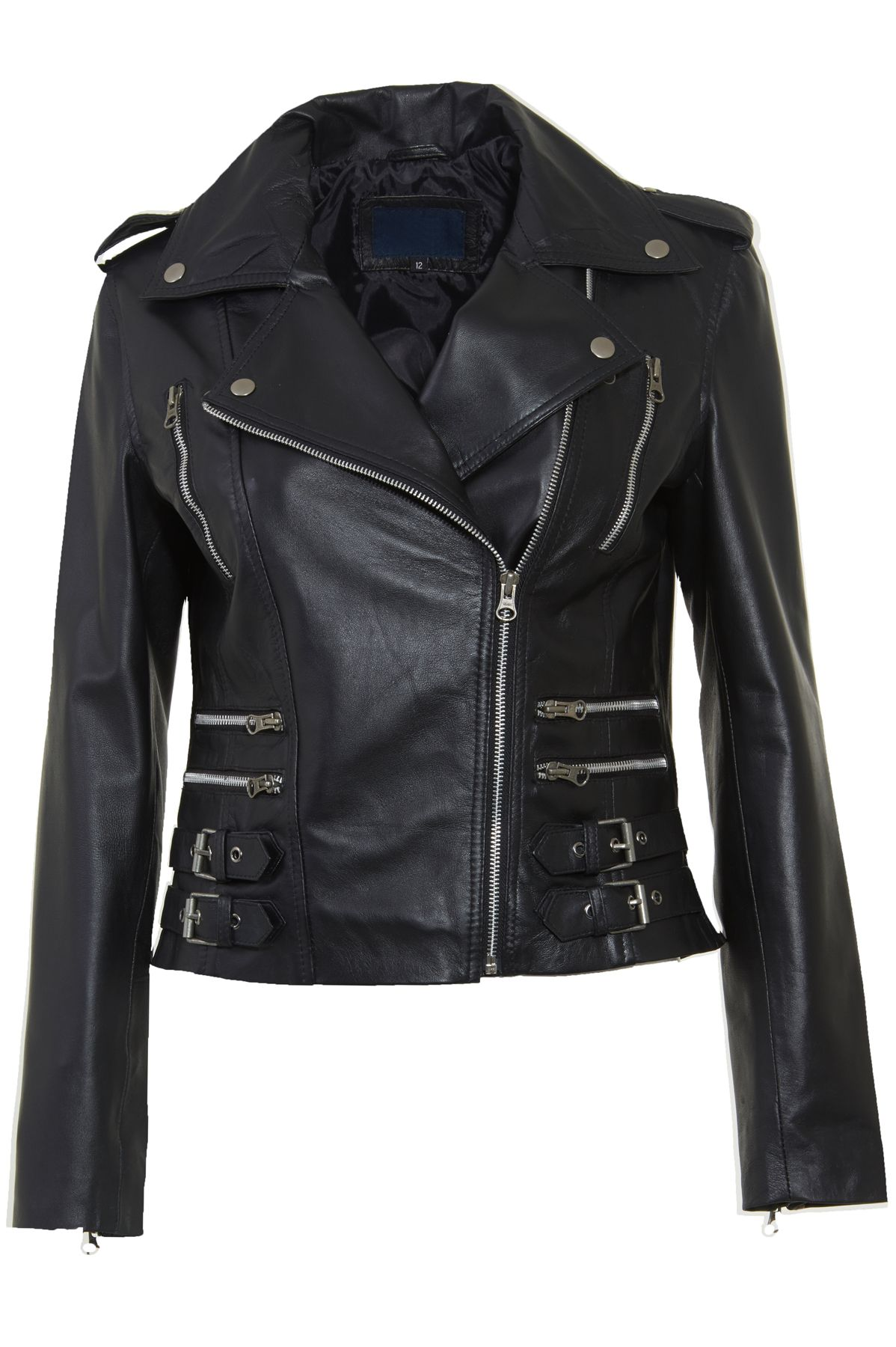 Womens Black Leather Biker Jacket with Zip Detail Faith