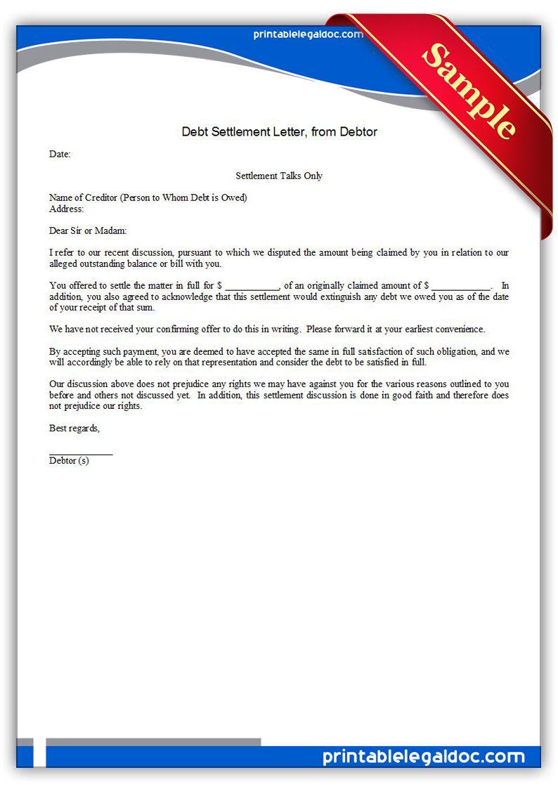 Printable Debt Settlement Letter Debtor Template