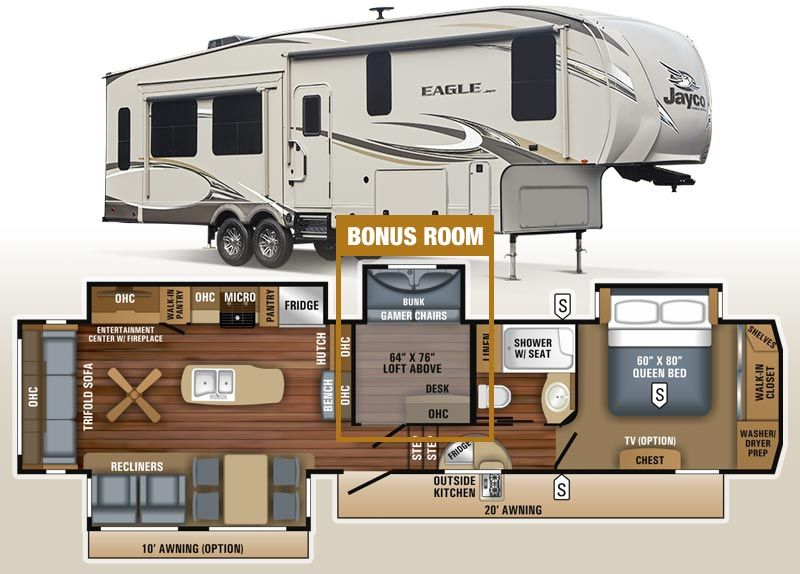 Jayco Eagle 355mbqs Mid Bunk Fifth Wheel Rv Floor Plans Fifth